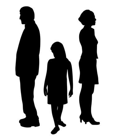Sad unhappy child standing between two divorcing parents Illustration