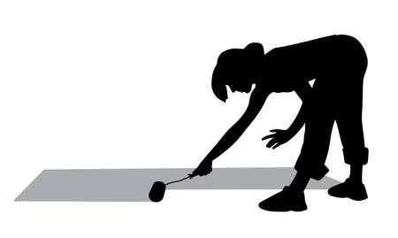 Woman painting floor with paint roller Vector Illustration