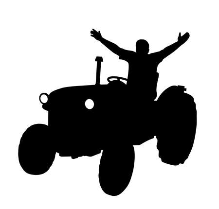 Happy farmer on tractor with raised hands Illustration