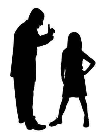 Conflict between father and defiant child Illustration
