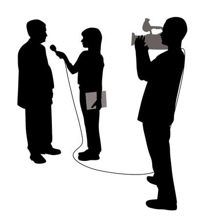 Interview with cameraman isolated on plain background. Illustration