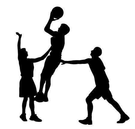 Three basketball players in action
