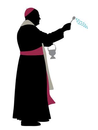 Catholic bishop sprinkling holy water