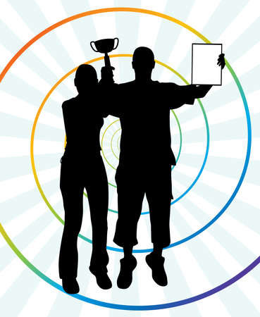Two young winners holding up a winning trophy and a certificate. Abstract spiral background.