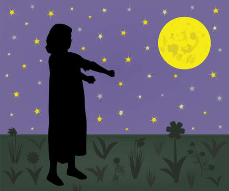 Young sleepwalker girl suffering from somnambulism walking on meadow at night 版權商用圖片 - 99505129