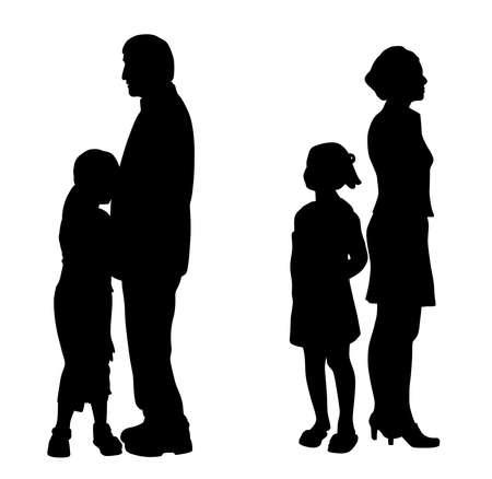 Illustrationssilhouette von sich scheidenden Eltern mit ihren zwei traurigen unglücklichen Kindern. Isolierter weißer Hintergrund. EPS-Datei verfügbar. Vektorgrafik