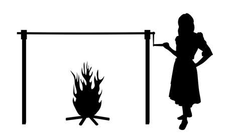 Illustration silhouette of a woman and spit roast fire. Isolated white background. EPS file available.