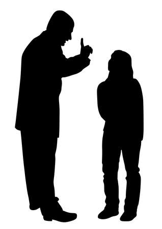 Illustration of conflict between father and teenage daughter. Isolated white background. EPS file available.