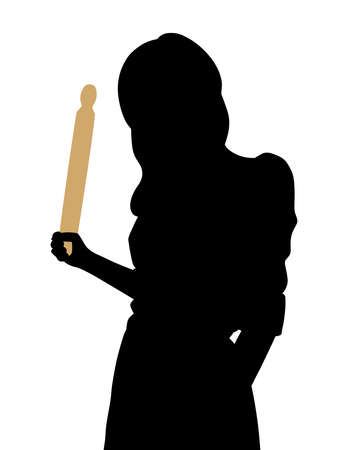 Illustration of an angry young woman holding a rolling pin in her hand. Isolated white background. EPS file available.  イラスト・ベクター素材