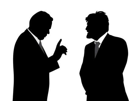 Two businessmen talking about a business plan or problems. Isolated white background. EPS file available. Illustration