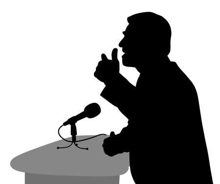 Hablar en público. Discurso motivacional. Hombre de negocios orador presentador político o conferenciante. Fondo blanco aislado. Archivo EPS disponible.