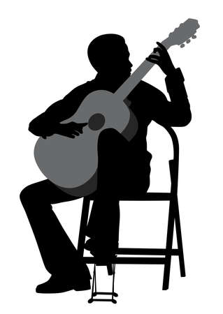 Illustration of a young man acoustic guitar player. Classical music. Isolated white background. EPS file available.  イラスト・ベクター素材