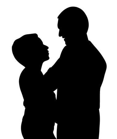 Romantic couple hugging dancing and talking