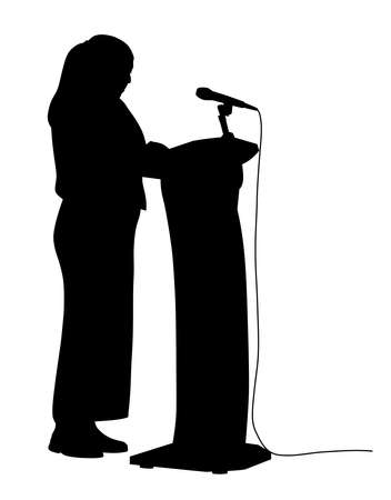 Illustration silhouette of a woman public speaking. Isolated white background. EPS file available.
