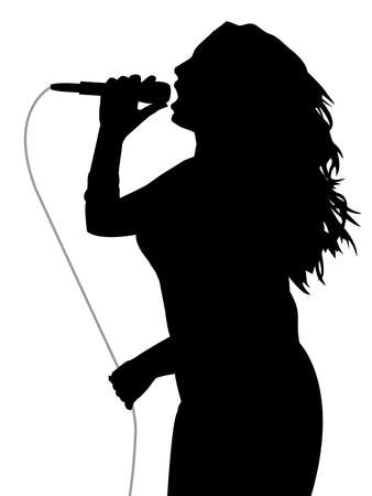 Illustration silhouette of a woman singer holding a microphone with gray cable and singing loud. Isolated white background. EPS file available.