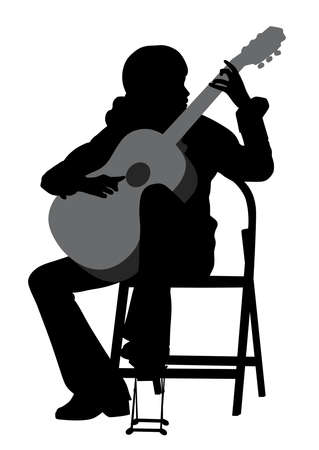 Illustration of a young woman acoustic guitar player. Classical music. Isolated white background. EPS file available.