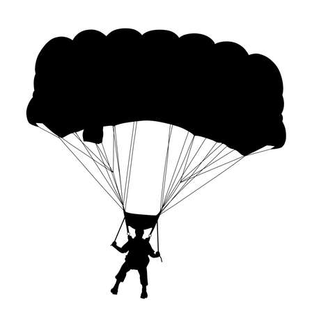 Skydiver flying with parachute