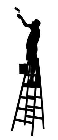 Ilustracja sylwetka malarza na drabinie malowanie ścian lub sufitów za pomocą wałka do malowania. Na białym tle. Dostępny plik EPS.