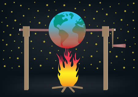 Illustration of global warming. Planet earth roasting over fire. EPS file available.