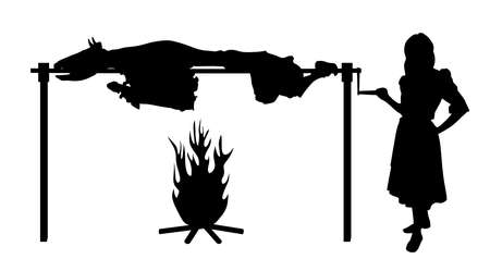 Illustration of a woman roasting ox on spit. Isolated white background. EPS file available.