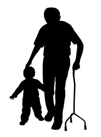 Illustration of disabled grandfather walking with child. Isolated white background. EPS file available.