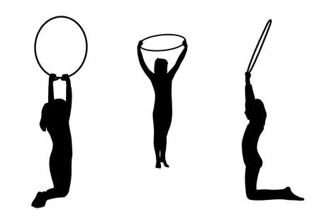 Illustration silhouettes of three gymnastic girls team performs with hoops. Isolated white background. EPS file available.