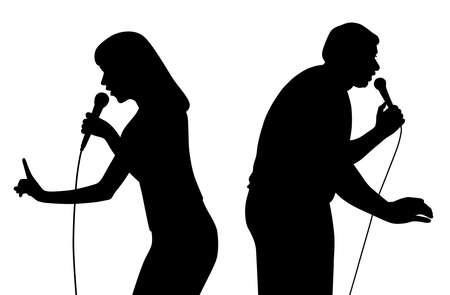 Illustration of motivational speech, public speaking. Isolated white background. EPS file available.