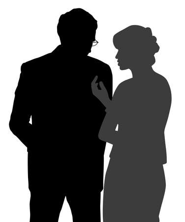Illustration of a man and woman discreet conversation. Isolated white background. EPS file available.