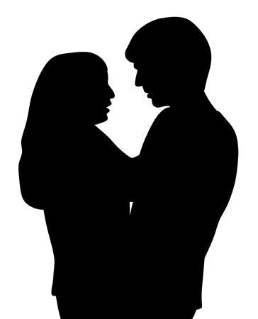 Couple hugging and talking Illustration
