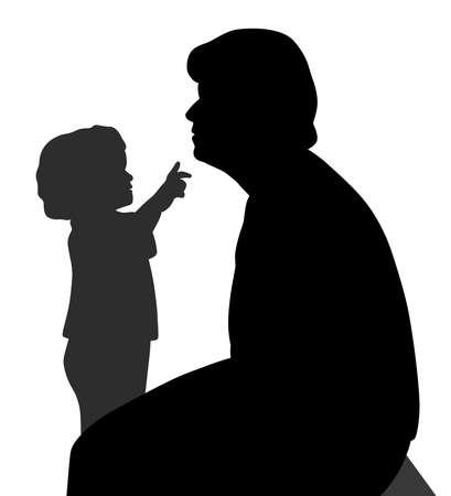Kind will Großmutters Kinn berühren