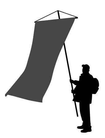 Illustration of a man holding a large vertical flag. Isolated white background. EPS file available.