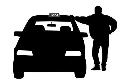 Taxi driver standing next to the taxi service car, waiting for a passenger.