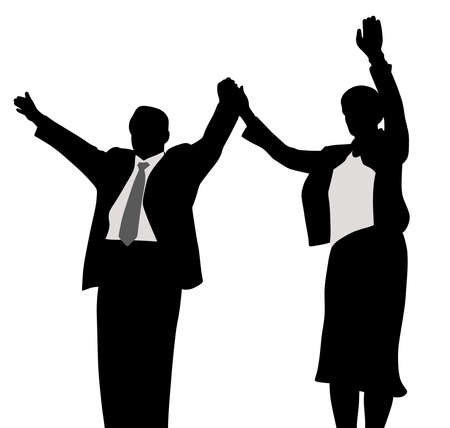 Illustration of husband and wife business political campaign winners, waving raised hands. Isolated white background. EPS file available. Illustration