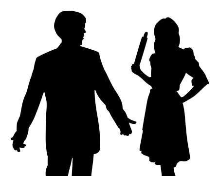 Illustration silhouette of angry wife holding rolling pin and puzzled confused husband with open hands making helpless gesture. Isolated white background. EPS file available. Ilustrace