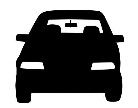 Illustration silhouette of parked car front view. Isolated white background. EPS file available.