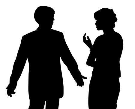 Illustration silhouette of man and woman arguing. Couple with relationship problems. Isolated white background. EPS file available.