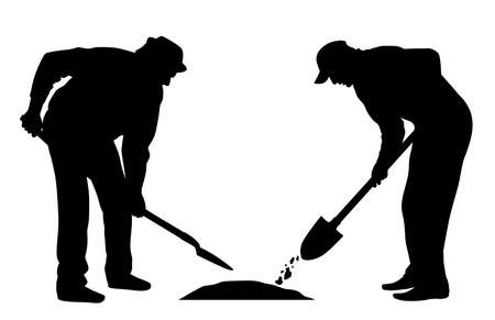 Illustration silhouette of workers with shovel. Isolated white background. EPS file available.