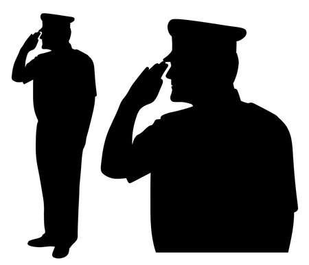 Illustrationssilhouette von Soldaten, Offizieren, Kapitänen, Admiralen, Polizisten, Matrosen oder Feuerwehrleuten, die grüßen. Seitenansicht. Isolierter weißer Hintergrund. EPS-Datei verfügbar.