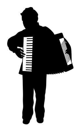 Silueta de ilustración de un niño tocando el acordeón. Fondo blanco aislado. Archivo EPS disponible.