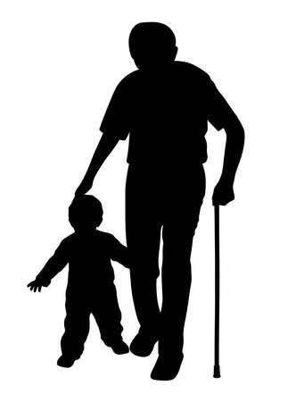 Silueta de ilustración de abuelo con bastón y niño caminando. Fondo blanco aislado. Archivo EPS disponible.