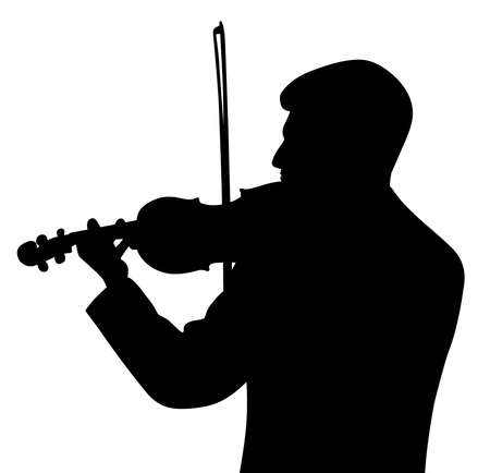 Illustration silhouette of a male violinist back view. Isolated white background. EPS file available.  イラスト・ベクター素材