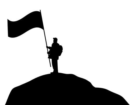Illustration silhouette of a man waving a large flag on a mountain top. Achievement, success, leadership, goal, winning concept. Isolated white background. EPS file available.