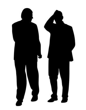 Silueta de ilustración de un hombre dejando atrás a su amigo o colega que tiene un problema. Fondo blanco aislado. Archivo EPS disponible.