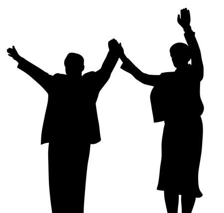 Illustration silhouette of successful business partners or leader politicians, husband and wife standing on stage, waving raised hands and greeting people. Isolated white background. EPS file available. Foto de archivo - 122725249