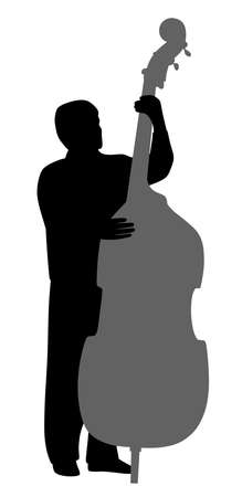 Illustration of a man playing contrabass. Isolated white background. EPS file available.