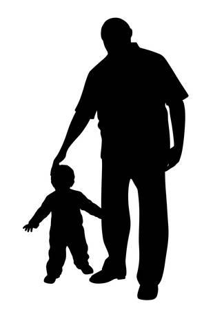 Silueta de ilustración de un abuelo con un niño pequeño. Fondo blanco aislado. Archivo EPS disponible.
