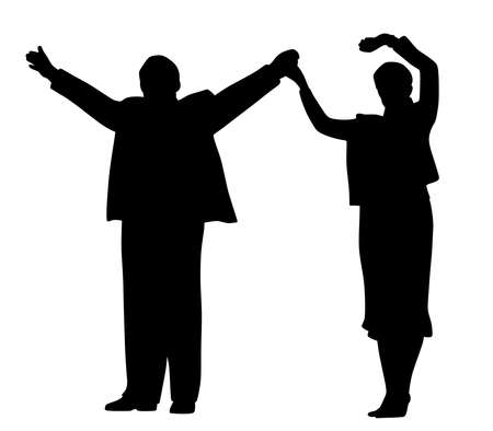 Illustration silhouette of successful business partners or leader politicians, husband and wife standing on stage, waving raised hands and greeting people. Isolated white background. EPS file available.