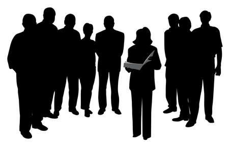 Illustration d'une femme parlant en public en train de lire ou de faire une présentation devant un groupe de personnes. Fond blanc isolé. Fichier EPS disponible.