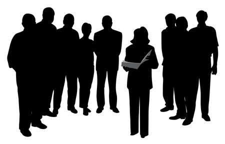Ilustración de una mujer hablando en público leyendo o dando una presentación frente a un grupo de personas. Fondo blanco aislado. Archivo EPS disponible.