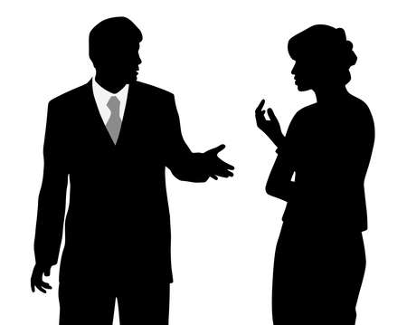 Illustration of business man and woman arguing. Isolated white background. EPS file available.
